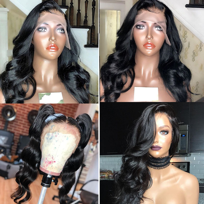 13x6 Lace Front Wigs Pre Plucked 150% Denstiy Brazilian Body Wave Transparent Lace Front Human Hair Wigs For Women You May Remy