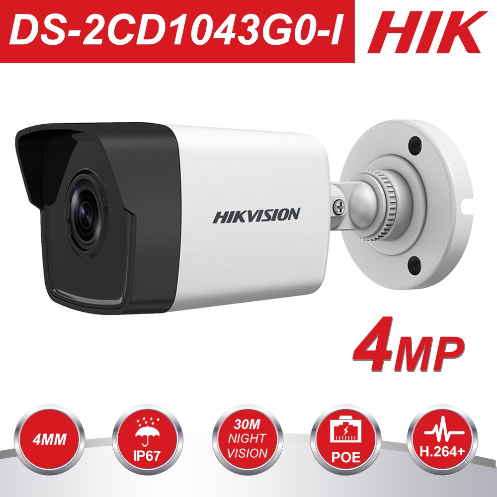 HIK New Video Surveillance Camera DS-2CD1043G0-I 4MP IR Network Bullet IP Camera POE H.265+ Replace DS-2CD1041-I