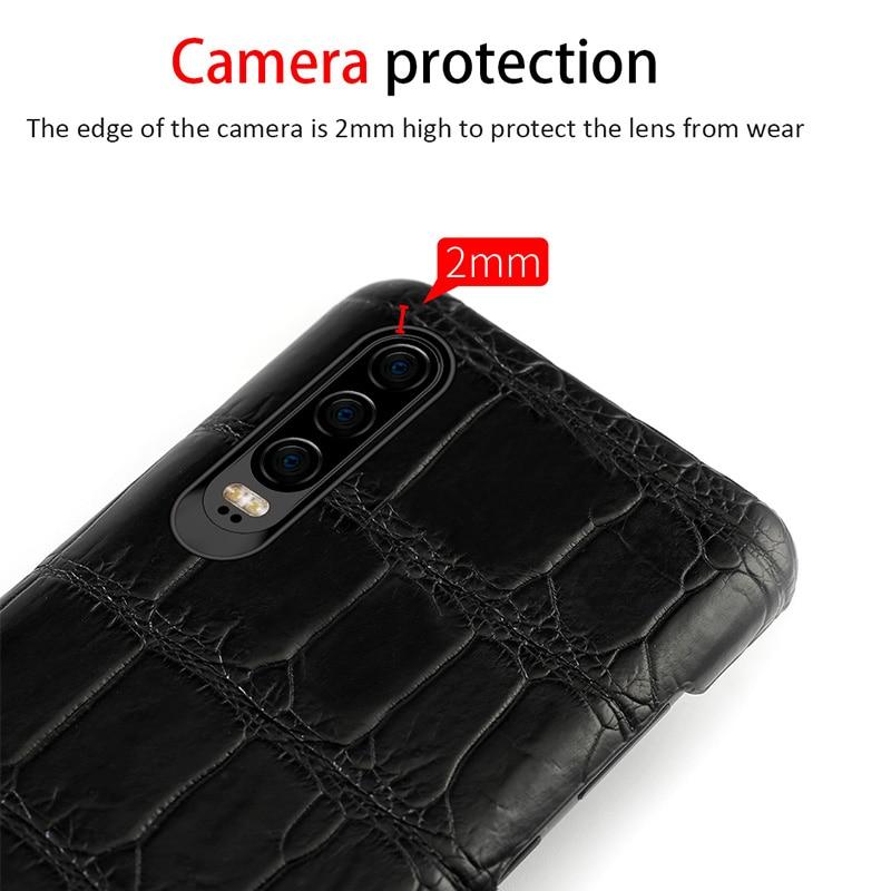 Natürliche krokodil leder Für Huawei p30 pro high end leder telefon fall für Huawei p30 P10 Lite p20 pro herbst schutz hülse - 2