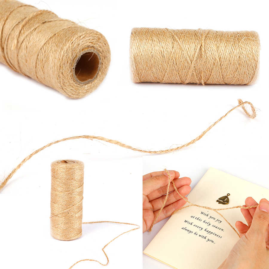 100m Natural Jute Twine Burlap String Hemp Rope Party Wedding Gift Wrapping Cords Thread DIY Scrapbooking Florists Craft Decor