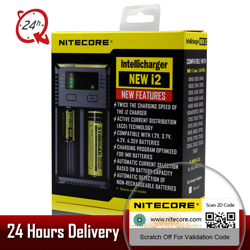 Brand Nitecore D4 D2 New I4 I2 Digicharger LCD Intelligent Circuitry li-ion  For 26650 18650 16340 14500 AAA Car Battery Charger
