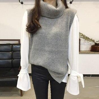 Side Split Sleeveless Turtleneck Vest Sweater