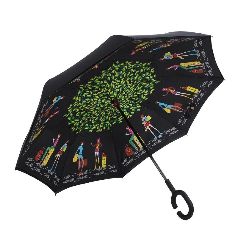 Зонты дома ветрозащитный обратный складной двойной Слои перевернутый зонтик самостоятельно стоять изнанку дождь C-молния руки
