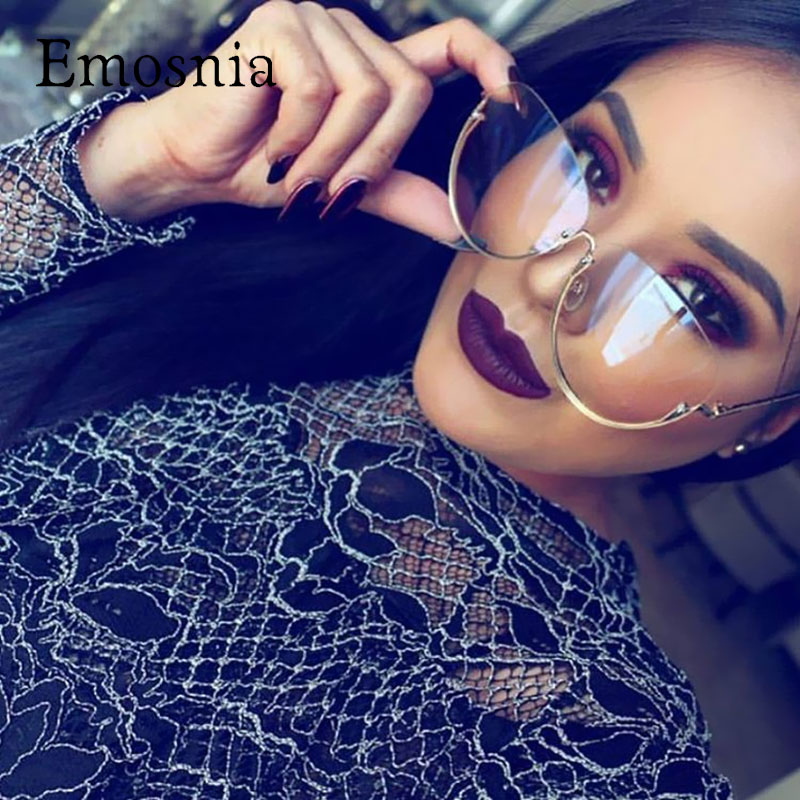 Emosnia Weibliche Big Transparent Sonnenbrille Frauen Oversized Rahmen Klare Linse Dame Randlose Sonnenbrille Neue Ankunft Oculos De Sol