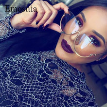 Emosnia-gafas De Sol transparentes para mujer, lentes transparentes grandes con montura grande, sin montura, novedad