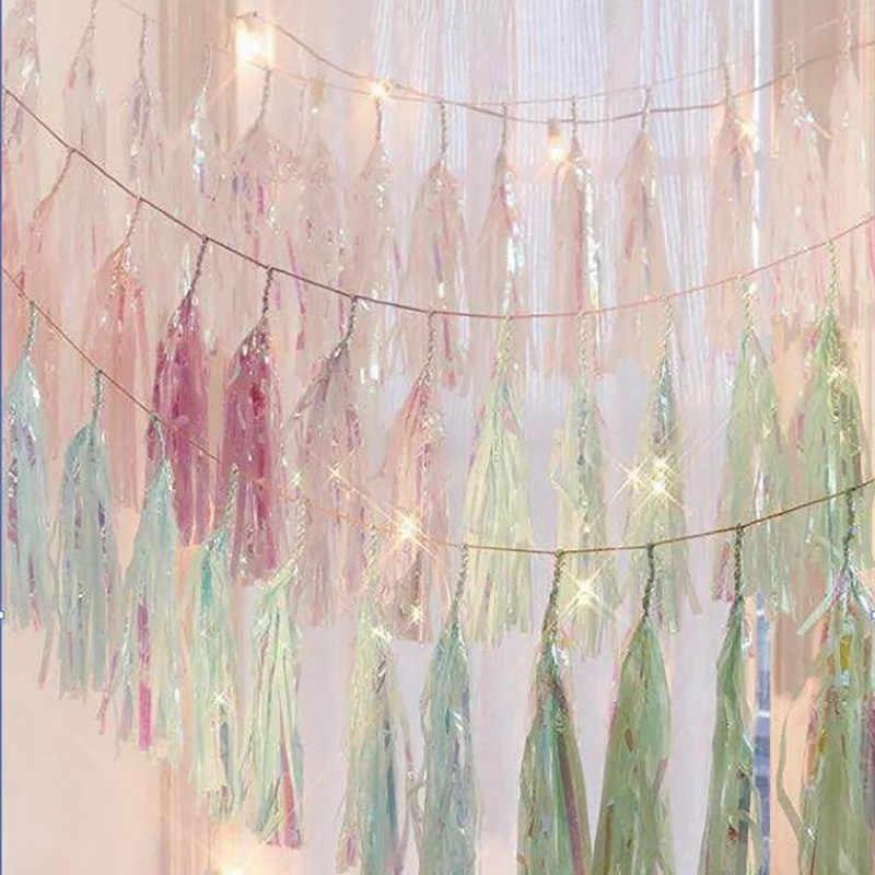 100 шт Радужная подвесная гирлянда баннеры флаги переливающиеся пастельные украшения Детская Игрушка В ванную Свадебные товары на день рождения