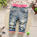 Casual Spring Autumn Roupas Baby Girls Embroidery Distrressed Washed Denim Jeans Full Length Pants Kids Trousers S4751