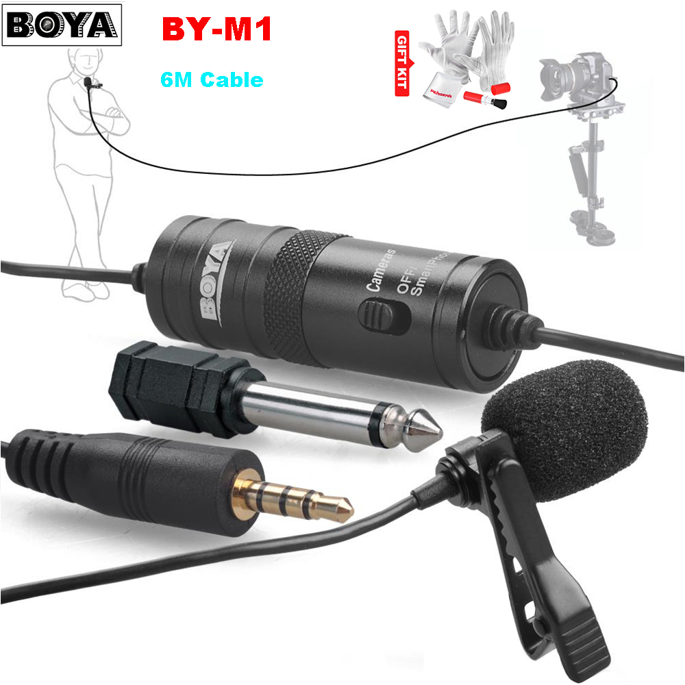 BOYA BY-M1 Lavalier Omnidirectional Condenser Stereo Microphone for DSLR Camcorders Broadcasting Recording boya by mc2 portable usb condenser conference microphone durable for speech