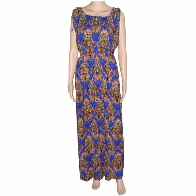 f494dd3045c1 Online Shop Tilapia new vintage ankara women summer dress sleeveless maxi  kaftan floral elastic waist long women cotton dress loose vestidos