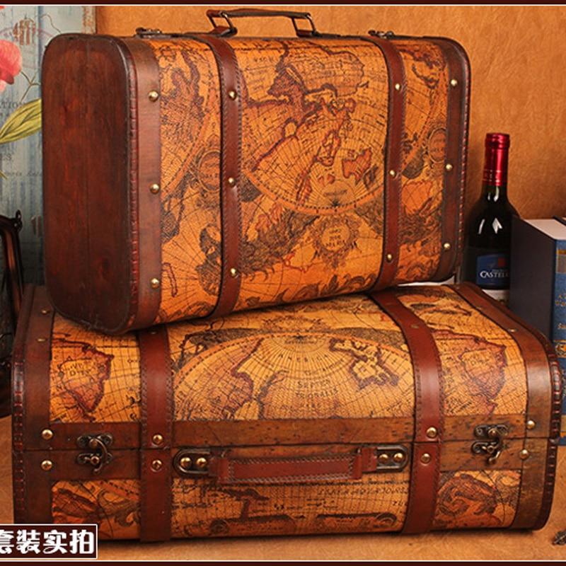 Gushifu Boîte en bois valise européenne boîte vintage Cadeau boîte à bijoux en bois grand zakka Boîte de rangement carte brun Impression de cuir