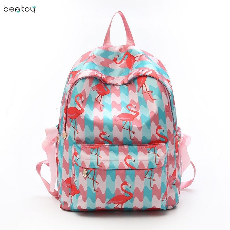 Preppy Flamingo Print Women School Backpack Large Capacity School Bag Waterproof Knapsack For Teenager Girl Travel Backpacks цена