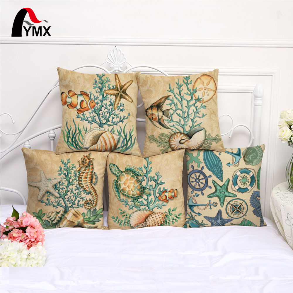 2017 New Sea Style Cotton Linen Sofa Cushion Cover Fish Printed Pillow Cases Waist Pillowcases Cover Price Wholesale Home Decor