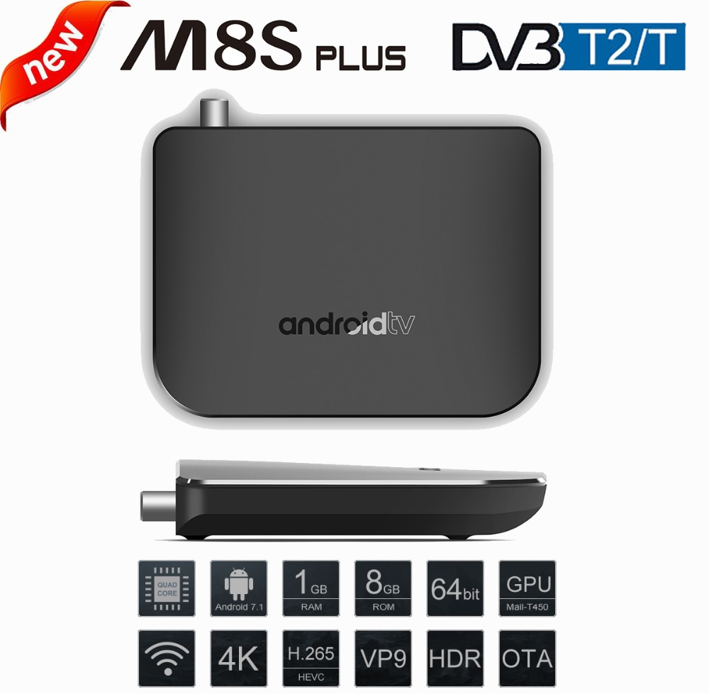 MECOOL M8S Plus DVB-T2/T TV Box Amlogic S905D Android 7.1 1GB RAM + 8GB ROM 2.4G WiFi 100Mbps BT4.1 Support 4K H.265