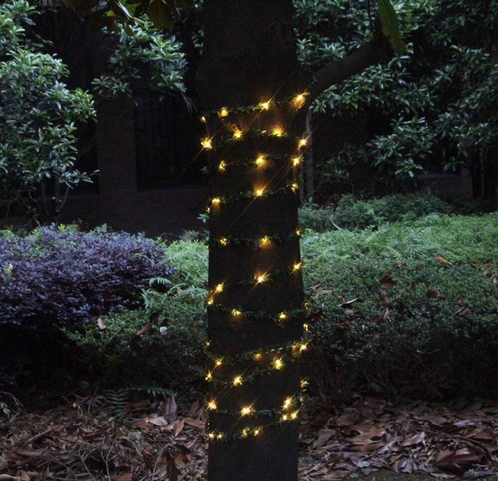 10 M 100 led hoja guirnalda con pilas luces de cadena de cobre para - Iluminación de vacaciones