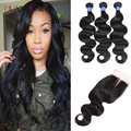 8A Grade Peruvian Virgin Hair 3Bundles with closure Body Wave human hair With Closure huangcai peruvian body wave with closure