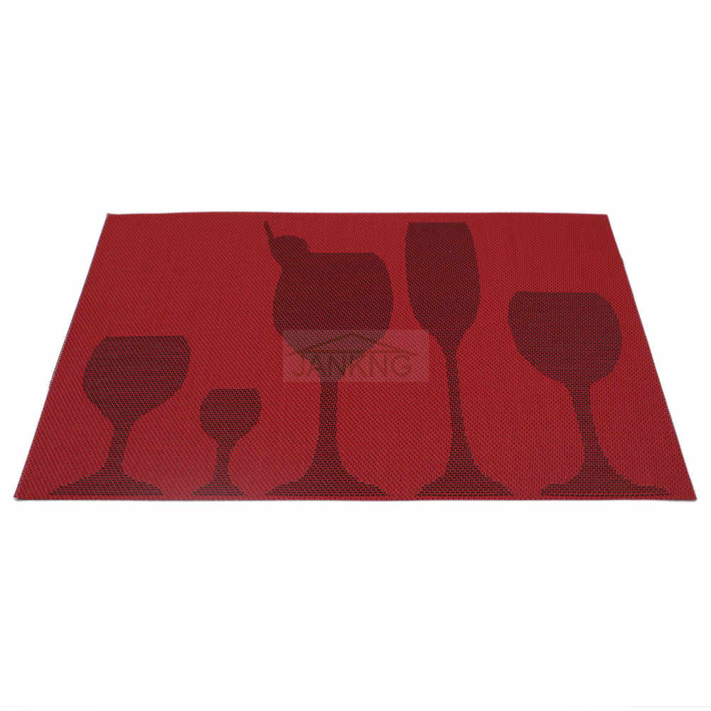 Pvc Placemats Jankng 6 Pcs Lot Pvc Placemats Woven Vinyl Place Mats Novelty Glass Cup Coasters For Dinner Table Pad Heat Resistant Placemats