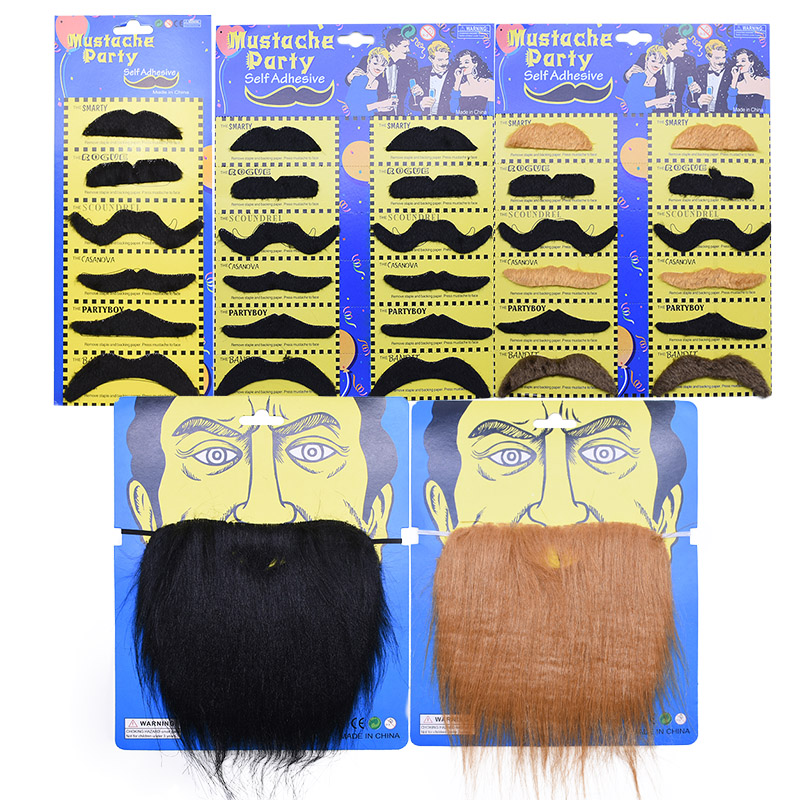 Halloween Party Creative Funny Costume Pirate Party Mustache Cosplay Fake Moustache  Beard For Kids Adult Decoration Photo Props