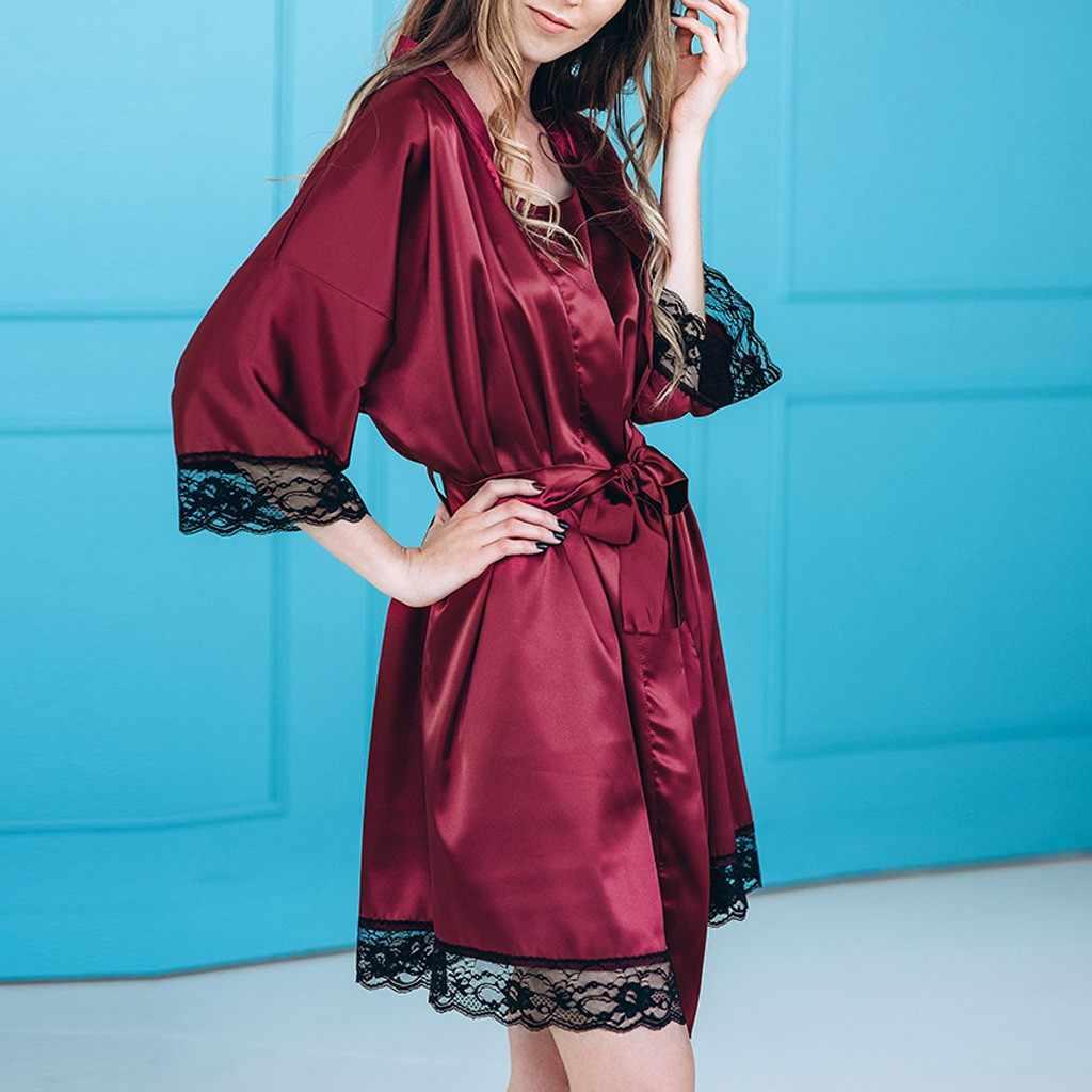 ファッション女性のセクシーなレッドシルクサテン着物ローブレースランジェリーベビードールパジャマバスローブサテンシルクのための 2019 新