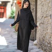 Johnature Women Autumn Black Dress Irregular Linen Robes Fashion Fall Women Clothing Loose Patchwork Casual Women Elegant Dress