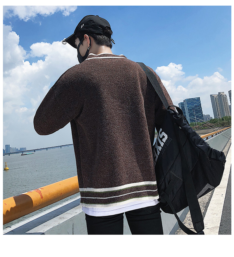 Check Button Cardigan Male Oversize Loose Streetwear (30)