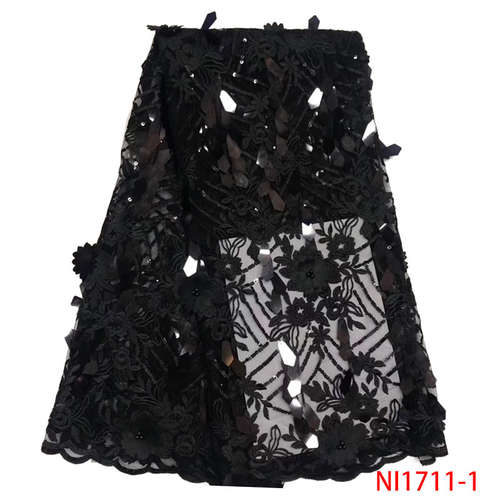 2019 New Style 3D Flower African Lace Fabric High Quality French Tulle Embroidered Net Lace Fabric With Sequins Beads KSNI1711-1