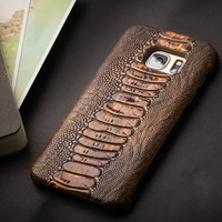For Galaxy S7 Edge Phone Cases QIALINO Ostrich Leg Genuine Leather Phone Cover Case For Samsung