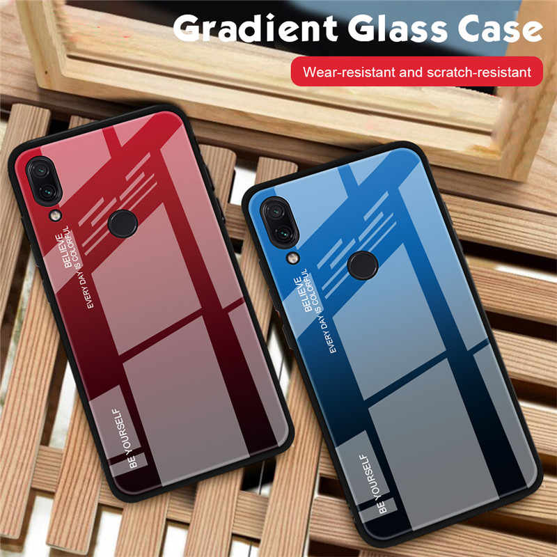 For Xiaomi Redmi Note 7 Glass Phone Case For Xiaomi Redmi Note 7 Silicon Case bumper On Redmi Note 7 Capa Funda Cases