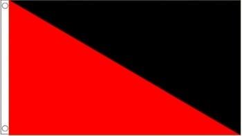 Bandera anarcha de 3x5 pies con bandera de Anarcho comunista Anarcho con dos grommets