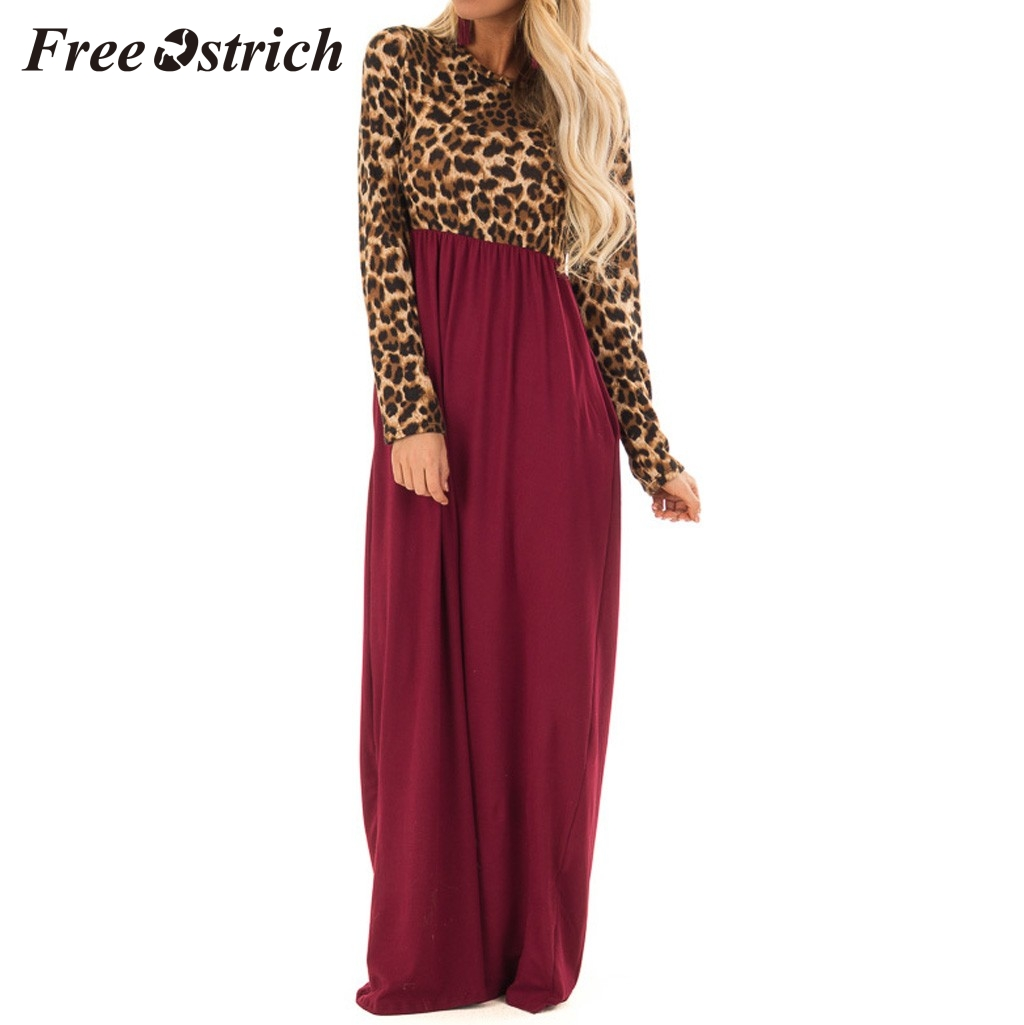 Free Ostrich 2020 Women's Long Sleeve Maxi Dress Leopard Print Contrast Patchwork Dresses Wine Red Long Casual Elegant Dress
