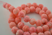 1 strand 8mm Gesneden Lotus Roze Kleur Coral Ronde Kralen 16
