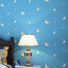 stars moon female cartoon boy Non-woven wallpaper brief modern sofa background wall wallpaper Wall Stickers Living Room Bedroom цена 2017
