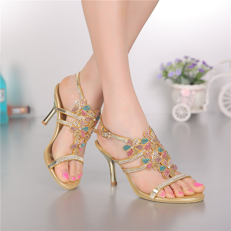 ФОТО 2016 new women sandals genuine leather high heels Rhinestone women shoes for ladies Crystal sandals big size shoes GS-L008GDX