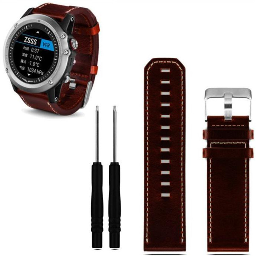 Hot hothot New Luxury Leather Strap Replacement Watch Band Strap 2pc Screwdriver Tools For Garmin Fenix 3 Smart Watch ot20 nov27 цена