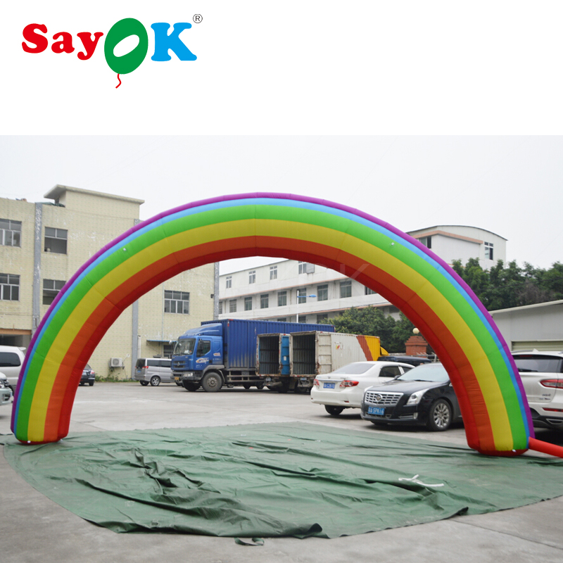 8x4mH Inflatable rainbow arch with air blower
