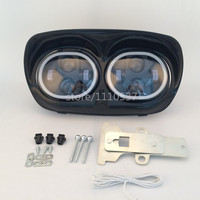 1 Set Dual LED Headlight Projector Daymaker Lamp With Halo Ring White For Harley Road Glide