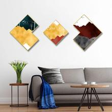 Golden combination painting Irregular mural living room Background wall Nordic minimalist Decorative paintings Framed Triptych