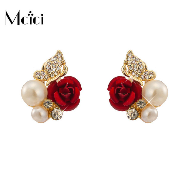 2ff566203 Simulated Pearl Stud Earrings for Woman Red Rose Butterfly Shape Gold Color  Mental Earring Elegant Jewelry Girl Gift Oorbellen