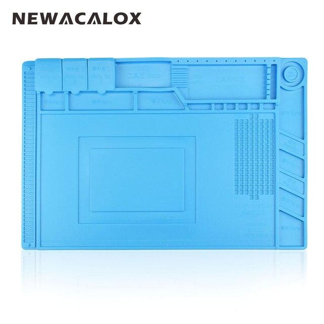 Newacalox 1 шт. 43x30 синий теплоизоляция силиконовый коврик стол магнитные кремнезема паяльная станция технического обслуживания платформу для BGA ремонт