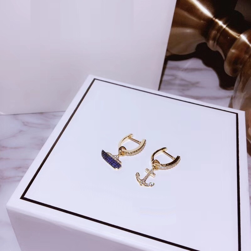 30c44358bfc4d US $17.89  XF Fashion Anchor Cruise Earring With 925 Sterling Silver Ear  Pin Summer Chic Asymmetry Earring Women Wedding Jewelry-in Stud Earrings  from ...