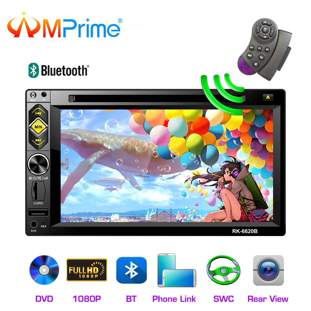 """AMPrime 2 din Car Radio 7"""" Bluetooth Stereo 2din DVD CD Multimedia Player Touch Screen Mirrorlink FM/SD MP5 Player With Camera"""