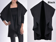 Best Selling Women's Sping and Autumn irregular Shawl Long Section Woolen overcoats Large Size