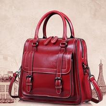 Frauen Hohe Qualität Vollrindleder Vintage Handtaschen Neue Mode Umhängetasche Weibliche Marke Crossbody Taschen Mädchen Tote Bolsa sac