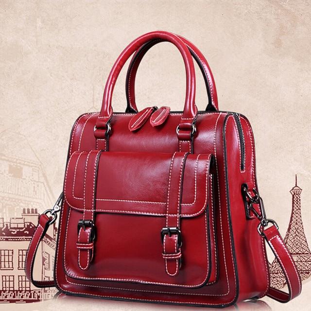 Women High Quality Genuine Cow Leather Vintage Handbags New Fashion  Shoulder Bag Female Brand Crossbody Bags Girl Tote Bolsa sac 940e1b724a