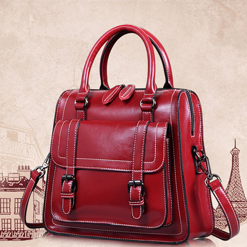 Women High Quality Genuine Cow Leather Vintage Handbags New Fashion Shoulder Bag