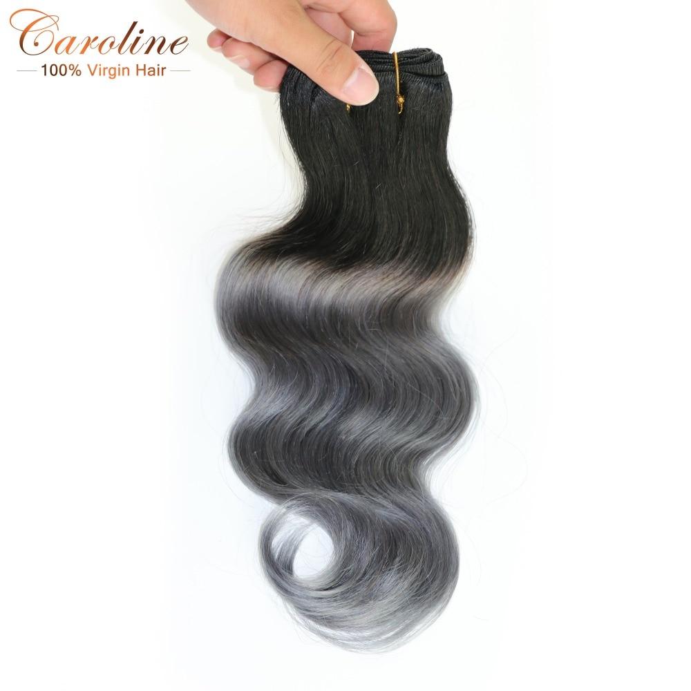 #1b/gray hair extensions body wave brazilian virgin hair 1 bundles brazilian grey hair weave ombre gray hair free shipping