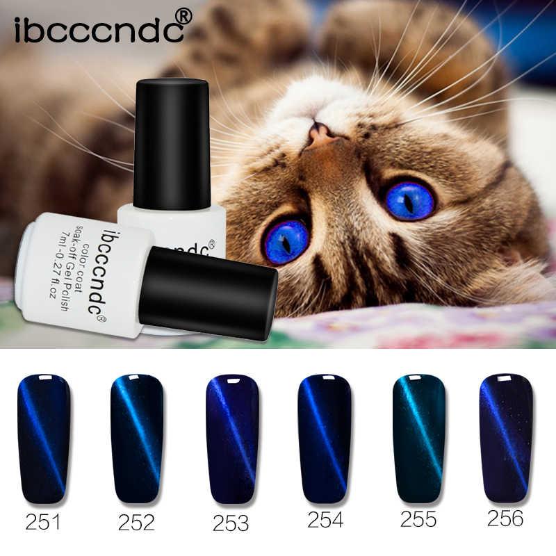 2017 Mais Novo Ímã 3D Gel Verniz UV LEVOU 7 ml Deep Blue Series Olho de gato Gel Unha Polonês Brilhando Cor Laca Embeber Off Gel DIY