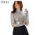 Hyh haoyihui t-shirt das mulheres outono inverno gola alta manga longa modelagem sólida prata tee streetwear elegante casual sexy top