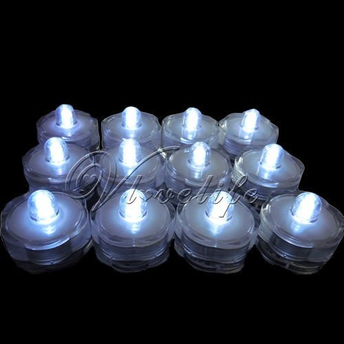 12 White  LED Submersible Lights Candles Waterproof Replaceable Led tea Light for Xmas Wedding party event supplies decorations