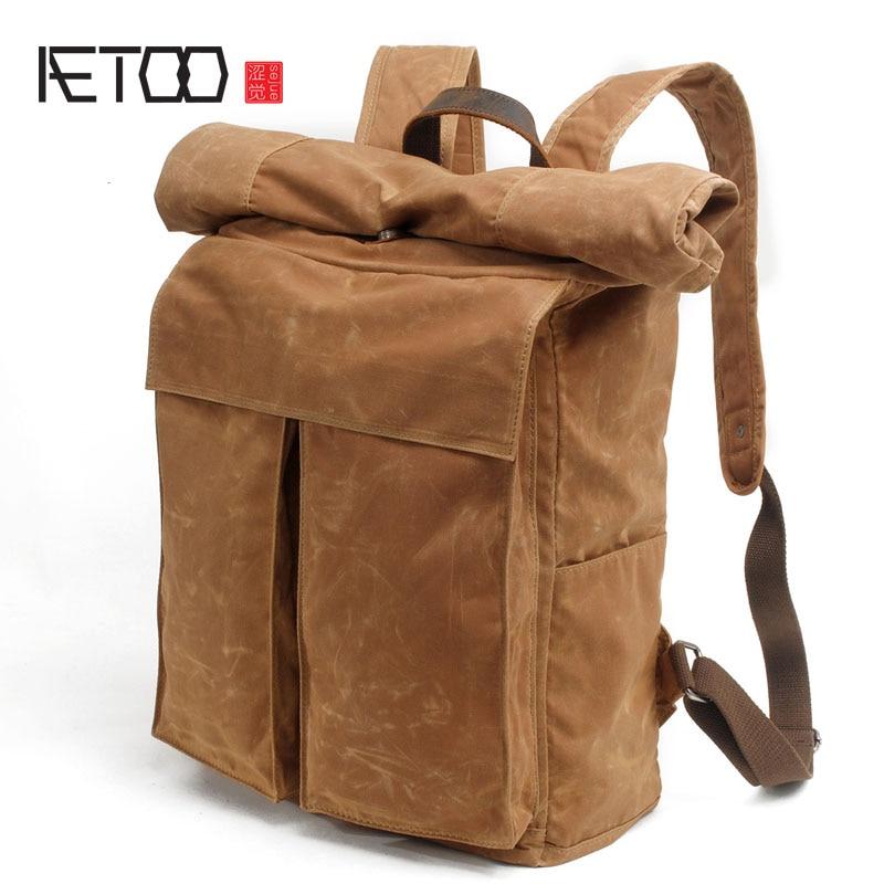AETOO Men's batik canvas shoulder bag new retro simple package bag street fashion personality backpack Korean men bag 2016 men s batik canvas bag new retro simple street trend personality backpack men s bag 82050k