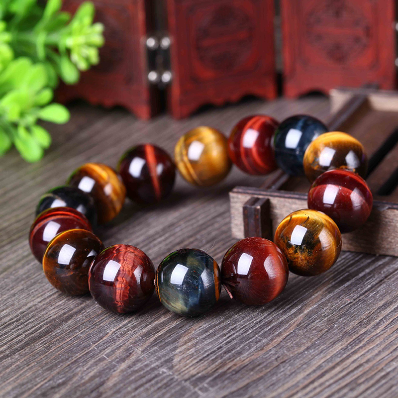 JoursNeige Tiger Eye Color Tiger byzylyk 12-20 mm Beads byzylyk kristal për burra Gra byzylykë me fat